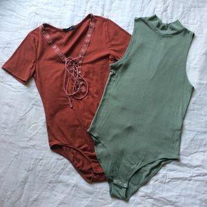 Burnt Orange and Mossy Green Bodysuits